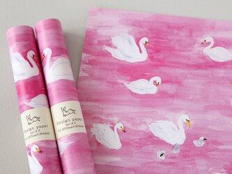 デザインペーパー ピンクの湖の画像