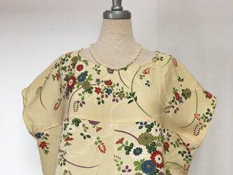 シルク フレンチ袖ブラウス L 着物リメイクの画像