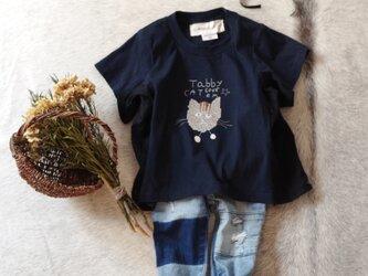 ネイビー色]ネコちゃんが選べる!名前が入れられる♪夏が待ち遠しいビッグTシャツ/100/110/120/130の画像
