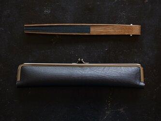 ハンサムな紳士用扇子ケース/24cm/ Black OIL DAKOTAの画像