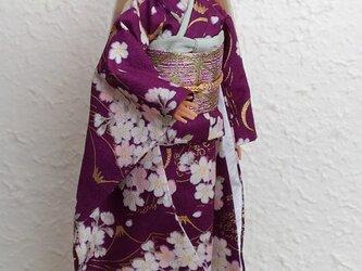 バービー着物 紫の富士景色の画像