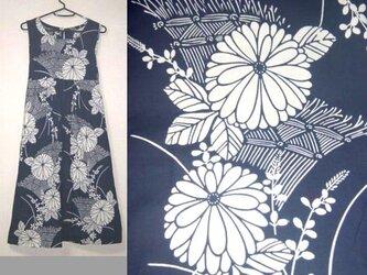 Sold Out浴衣リメイク♪菊が素敵な浴衣チュニックワンピース♪ハンドメイド♪初夏♪着物リメイク♪木綿♪藍染め・天然素材の画像