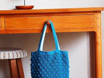 パプコーン編みの手さげ袋*ピーコックブルーの画像