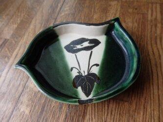 陶器 銘々皿② 織部焼 千鳥型 朝顔模様の画像