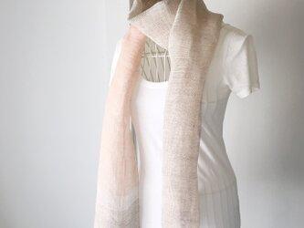 """【ベルギーリネン:オールシーズン】ユニセックス:手織りストール""""Soft Pink & Gray"""" Vol.2の画像"""