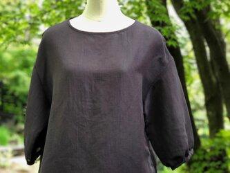 播州織のハーフリネンの羽衣ブラウス(むらさき)綿麻 プルオーバー ブラウス トップスの画像