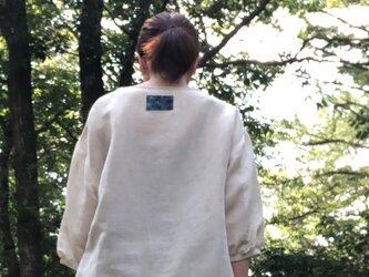 播州織のハーフリネンの羽衣ブラウス(きなり)綿麻 プルオーバー ブラウス トップスの画像