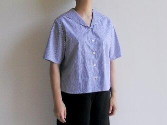 播州織*セーラーカラーの爽やかなブラウス(青&白2mmストライプ・綿ブロード生地)の画像