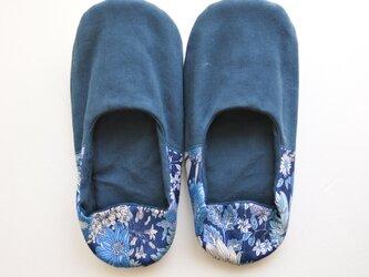 難あり 薄型 ルームシューズ バブーシュ スリッパ 夏の花 ブルー・ネイビー コットン リネン Bの画像