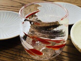 泡造り 赤 ロックグラスの画像