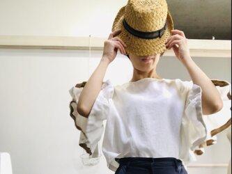 シワになりにくいリネン100% ボリューム袖のデザインブラウス  白の画像