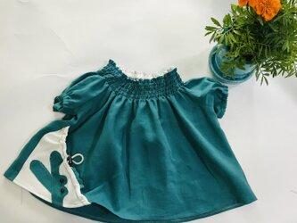 KIDS80-100 リネン100% ワニの巾着ポッケのスモック  グリーンの画像