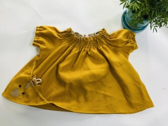 KIDS80-100 リネン100% キリンの巾着ポッケのスモック 黄色の画像