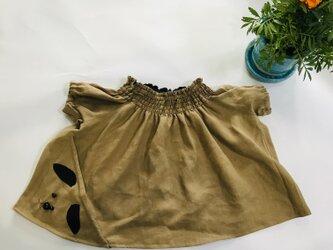 KIDS80-100 リネン100% 犬の巾着ポッケのスモック ベージュの画像