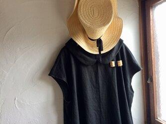 リネン100 丸襟フレンチワンピース ブラックの画像