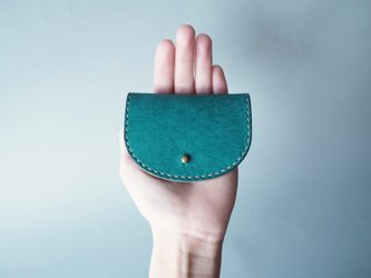 イタリアンレザーのコインケース 柏(ブルー)の画像