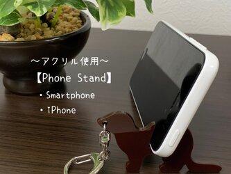 【ブラウン】スマートフォン スタンド フェレットキーホルダー(フェレットVer)【アクリル使用】送料無料の画像