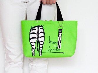 オリジナルデザイン!シマウマのお尻柄トートバッグ・ストラップ付き(黄緑)の画像