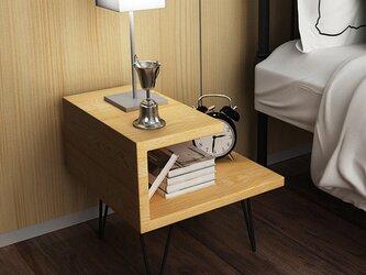 オーダーメイド アイアンウッド サイドテーブル 収納 ミニテーブル テーブル 家具 木目 サイズオーダー可 LR2018の画像