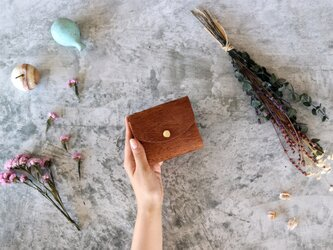 リッシオ_ダークブラウン◆外装◆こども財布◆三つ折りの画像