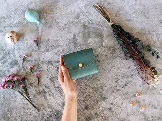 テイスト_グリーン◆外装◆こども財布◆三つ折りの画像