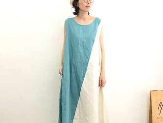 Side Triangle One Piece   Cream Turquoise x Antique Whiteの画像