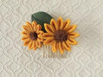 〈つまみ細工〉向日葵のコーム(山吹色)の画像