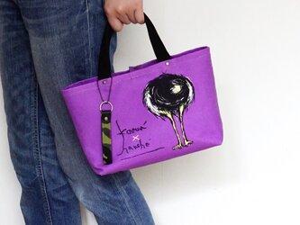 オリジナルデザイン!ダチョウのお尻柄トートバッグ・ストラップ付き(紫/パープル)の画像