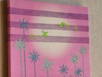 手染め 絹紬パネル 「 やもりたち 」 の画像