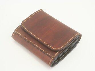 ♪レザー ミニマルウォレット 小さい財布 ボタン留め ブラウン♪の画像