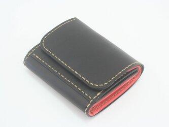 ♪レザー ミニマルウォレット 小さい財布 ボタン留め ブラック♪の画像