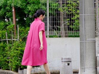 ボタニカルダイ ブルーベリー オーバーシャツワンピース ピンクの画像