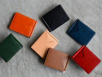 【カラーオーダー】ブッテーロマネークリップ  札バサミ付きカードウォレット  ミニウォレットカードケースの画像
