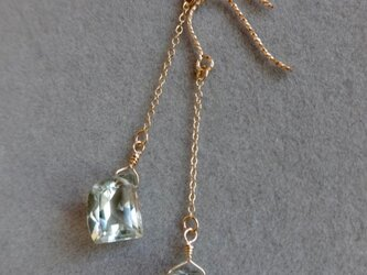 宝石質アメジスト 14kgfスパークルフックピアスLの画像