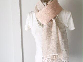 """【ベルギーリネン:オールシーズン】ユニセックス:手織りストール""""Soft Pink & Gray"""" Vol.3の画像"""