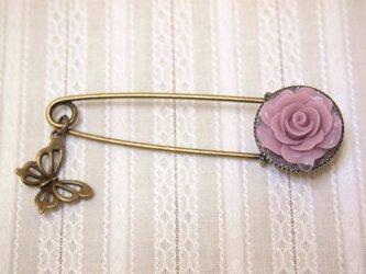 ◆◇薔薇と蝶のピンブローチ(ピンク)◇◆の画像