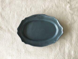 リムオーバル洋皿ネイビーの画像
