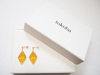 tokoba ピラミッド・ピアスmini アンバー菊つなぎ(K18)の画像