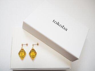 tokoba ピラミッド・ピアスmini アンバー緑菊つなぎ(K18)の画像