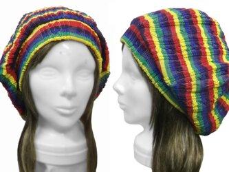 タム風リブ付ベレー帽(ゆったり)◆ラスタカラー調ケーブルニットの画像