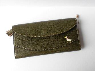 【アヒルの長財布】オリーブ×ブラウンの画像