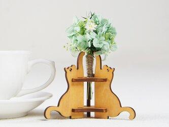 「ハナと猫(メープル)」木製一輪挿しの画像