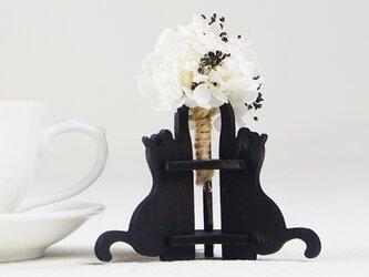 「ハナと黒猫」木製一輪挿しの画像