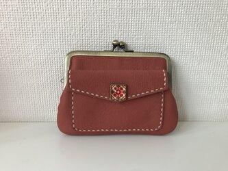 外ポッケのついた、四角い本革ぺたんこ親子がまぐちミニ財布【ピンク色レザー】の画像