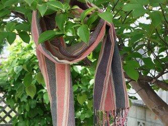 手織りてぬぐいストール・・赤系の画像