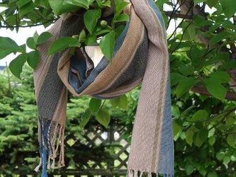 手織りてぬぐいストール・・青系の画像