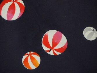 y0022-b 毬紋浴衣木綿ハギレ100cm☆古布・古裂/布草履/ミニ着物/吊るし飾り/押絵材料/ハンドメイドの画像