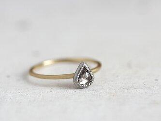 K18/Pt ローズカット・ダイヤモンドリング 〈ペアシェイプ・クリヤー〉の画像