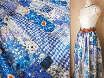Dreamin' Blue 絵画なパッチワーク ふんわり ギャザースカート チェック 水玉 花 ストライプの画像