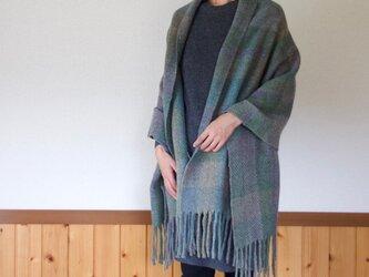 手紡ぎ手織りのブランケット〈しっかりタイプ〉(緑系)の画像